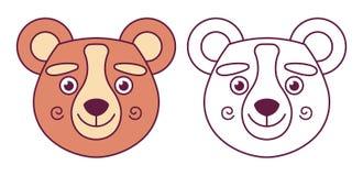 Hoofd van een beer in kleur en contour Het karakter glimlacht stock illustratie