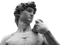 Hoofd van een beroemd die standbeeld door Michelangelo - David van Florence, op wit wordt geïsoleerd royalty-vrije stock fotografie