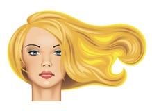 Hoofd van een mooi blondemeisje met lang fladderend haar in sunlig Stock Foto's