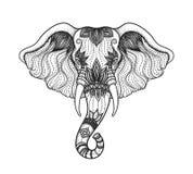 Hoofd van een ontwerp van de kunstboho van de olifantslijn Illustratie van Indische God Ganesha Vec Royalty-vrije Stock Afbeeldingen