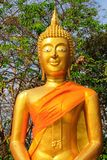 Hoofd van Gouden Boedha in een Thaise Boeddhistische tempel, een godsdienstig symbool in Thailand, Azië royalty-vrije stock foto's