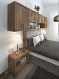 Hoofd van het bed met hoofdkussens en bedlijsten Royalty-vrije Stock Afbeeldingen