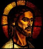 Hoofd van Jesus Christ in gebrandschilderd glas Stock Afbeeldingen