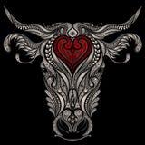 Hoofd van koe met rood hart Stock Afbeelding