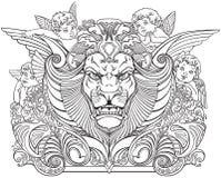 Hoofd van leeuw door engelen wordt omringd die vector illustratie