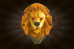 Hoofd van leeuw van driehoeken Stock Afbeelding