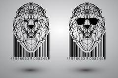 Hoofd van leeuw van driehoeken, lijnen en punten met streepjescode Stock Afbeeldingen