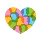 Hoofd van mensen in hartvorm Stock Afbeeldingen