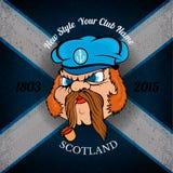 Hoofd van Schotse zeeman in GLB op Schotland-vlag grunge achtergrond Royalty-vrije Stock Foto