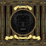Hoofd van Viking van het luxe het vectorontwerp met gouden patte Royalty-vrije Stock Afbeelding