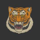 Hoofd van Wild Dierlijk Roofdier Aziatisch Tiger Face Japanse Stijlportretten Getrokken de hand graveerde Zwart-wit Oude Schets v vector illustratie