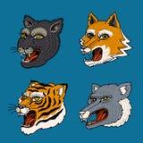 Hoofd van Wild Dierlijk Roofdier Poema Wolf Fox Tiger Face Japanse Stijlportretten Getrokken de hand graveerde Zwart-wit Oud royalty-vrije illustratie