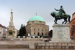 Hoofd vierkant in Pecs, Hongarije royalty-vrije stock afbeelding