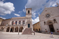 Hoofd vierkant van Norcia, Umbrië, Italië Royalty-vrije Stock Afbeeldingen