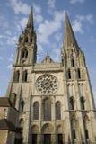 Hoofd Voorzijde, de Kathedraal van Chartres, Frankrijk Stock Foto