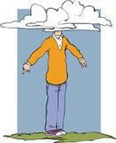 Hoofd in wolken royalty-vrije illustratie