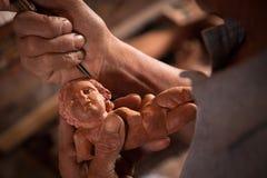 Hoofd Woodcarer Stock Fotografie