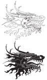 Hoofd zwart van de draak & wit Stock Foto