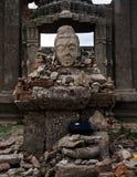 Hoofdactoren en ruïnes in de tempel Royalty-vrije Stock Foto