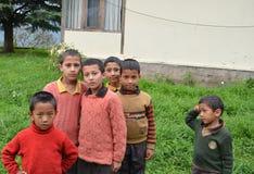 Hoofdartikel: 21 Augustus 2011: Sarahan, Himachal, India: Niet geïdentificeerd lokaal jonge geitjeshoogtepunt van energie, Saraha Stock Afbeeldingen