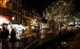 Hoofdartikel: 22 December 2016: Colmar, Frankrijk Kerstmis highlig Royalty-vrije Stock Fotografie