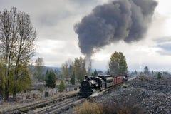 HOOFDARTIKEL, 18 Oktober 2015, Historische Stoomtreinen en Erfenisspoorweg van de Sumpter Valleispoorweg of Spoorweg, Sumpter Ore stock foto