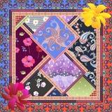 In hoofdband met heldere flarden in etnische stijl Paisley, stip, kosmosbloemen, rozen, papavers, madeliefje en vogels vector illustratie