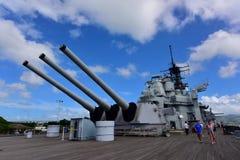 Hoofdbatterij van Teken 7 kanonnen op USS Missouri Stock Afbeeldingen