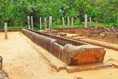Hoofdeetzaal van Abhayagiri-Klooster, Sri Lanka-de Werelderfenis van Unesco Stock Foto's