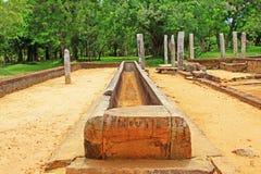 Hoofdeetzaal van Abhayagiri-Klooster, Sri Lanka-de Werelderfenis van Unesco Stock Afbeeldingen
