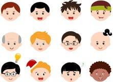 Hoofden van Jongens, Mensen Verschillende ethnics, van Jonge geitjes (Mannetje) Stock Afbeeldingen