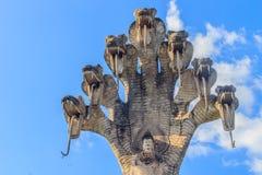 7 hoofdennaga en Boedha in Sala Keoku, het park van reuzeventilator Royalty-vrije Stock Afbeelding