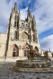 Hoofdfaã§ade van de Kathedraal van Burgos stock afbeelding
