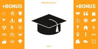 Hoofdglb voor gediplomeerden, regelt academisch GLB, graduatieglb pictogram stock illustratie