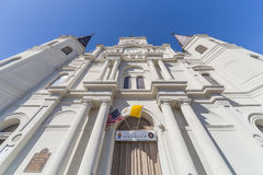 Hoofdingang aan St Louis Cathedral in Frans Kwart, New Orleans, Louisiane stock afbeelding