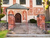 Hoofdingang van katholieke kerk van St Cunigunde, Tsjechische republiek royalty-vrije stock afbeeldingen