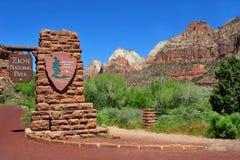 Hoofdingang, Zion National-park, Utah, Verenigde Staten Stock Afbeeldingen