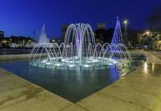 Hoofdkerstboom Baku en de belangrijkste fontein azerbaijan royalty-vrije stock afbeeldingen