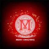 Hoofdletter M in patrooncirkel met vonken rond op rode Kerstmis Stock Foto
