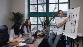 Hoofdmachinist die over nieuw idee in de bouwtekeningen spreken terwijl medewerker twee die in het notitieboekje nota nemen van stock footage