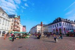 Hoofdmarktvierkant in Trier, Duitsland Royalty-vrije Stock Foto