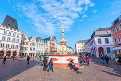 Hoofdmarktvierkant in Trier, Duitsland Royalty-vrije Stock Afbeeldingen