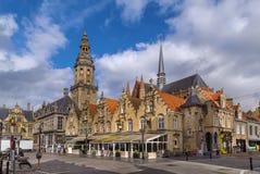 Hoofdmarktvierkant, Veurne, België royalty-vrije stock fotografie