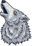 Hoofdmascotte van de beeldverhaal de boze wolf vector illustratie