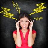 Hoofdpijn - migraine en spanning Royalty-vrije Stock Foto's