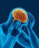 Hoofdpijn x-ray aftasten van menselijk hoofd met hersenen zijaanzicht royalty-vrije illustratie