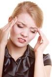 Hoofdpijn Vrouw die aan hoofd geïsoleerde pijn lijden Royalty-vrije Stock Afbeeldingen