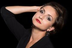 Hoofdportret van een mooi brunette Royalty-vrije Stock Foto's