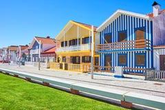 Hoofdpromenade van Costa Nova, Aveiro, Portugal stock afbeelding