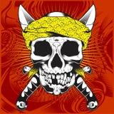 Hoofdschedel die bandana en dwars zwaard-vector dragen vector illustratie